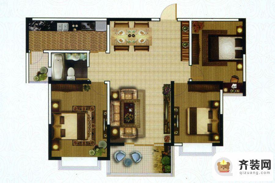高教公寓项目四期118户型 3室2厅1卫1厨