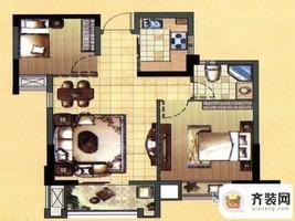 中庚·海德公园二期52#标准层H户型 2室2厅1卫1厨