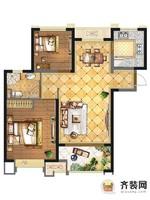 华润橡树湾二期7、12#楼标准层A1户型 2室2厅1卫1厨