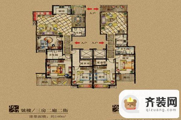 公园道一号第二期二十八栋A户型 3室2厅2卫1厨