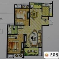 绿地商务城一期3#标准层A2户型 2室2厅1卫1厨