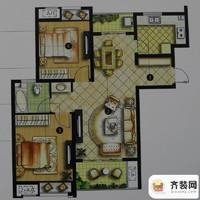 绿地商务城一期3#标准层B2户型 2室2厅1卫1厨