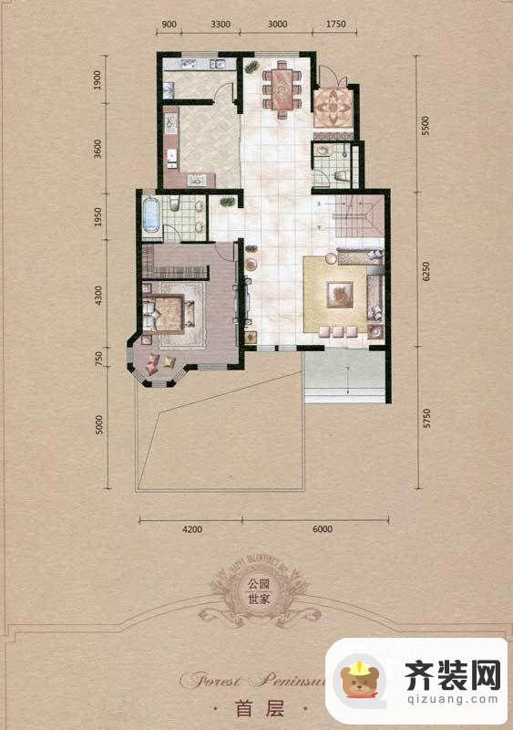 源盛嘉禾叠墅-古典交响户型(首层) 7室2厅3卫1厨