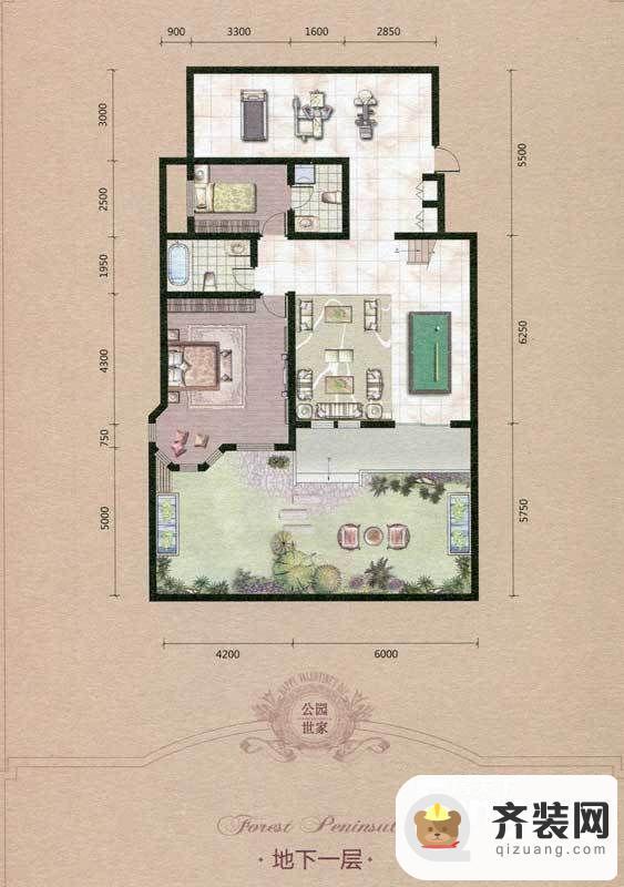 源盛嘉禾叠墅-古典交响户型(地下一层) 7室2厅3卫1厨