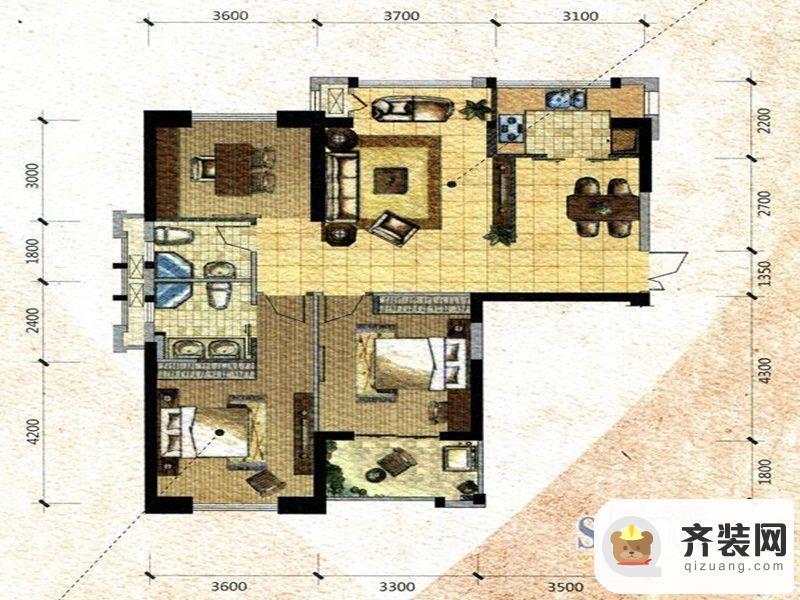 中庚·海德公园二期52#标准层A户型 3室2厅2卫1厨