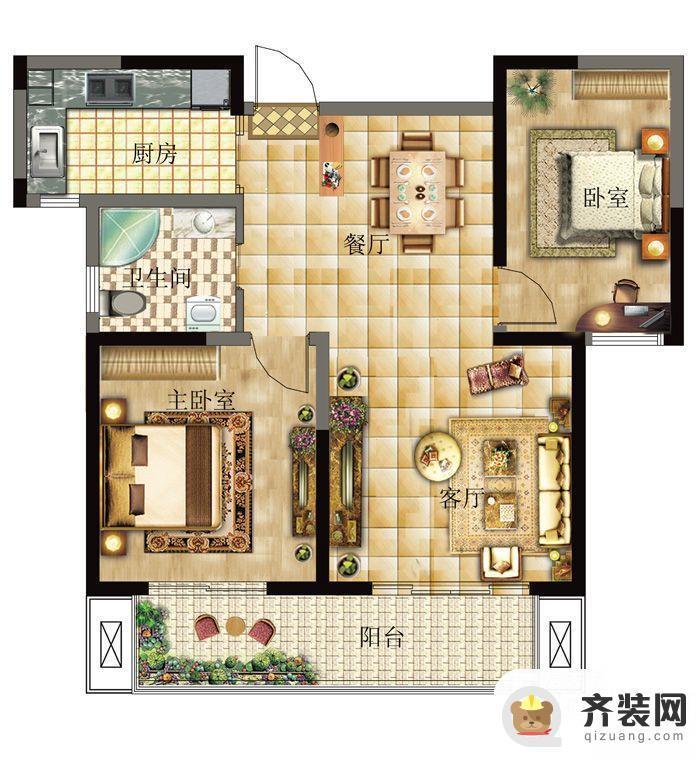 西城逸品第一期第五栋C户型 2室1厅