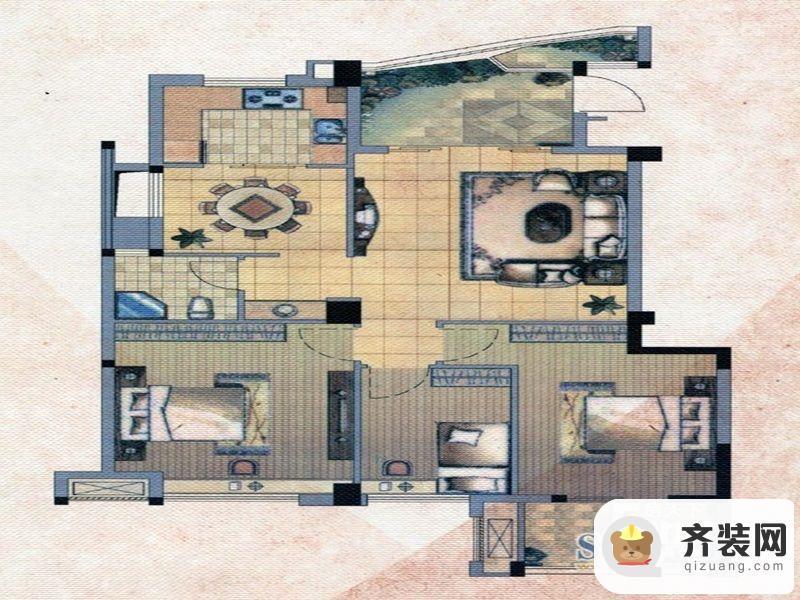 中庚·海德公园二期52#标准层F户型 3室2厅1卫1厨