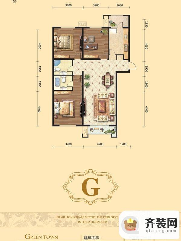 源盛嘉禾8#G户型 3室2厅2卫1厨