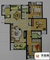 绿地商务城一期5#标准层B3户型 3室2厅2卫1厨