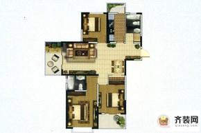 高教公寓项目四期131户型 3室2厅2卫1厨