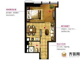 华润橡树湾二期3号楼标准层C户型 1室2厅1卫1厨