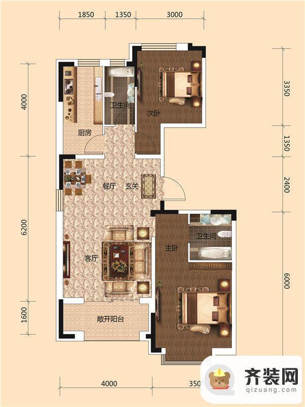 西湖一号二期B户型图 2室1厅1卫