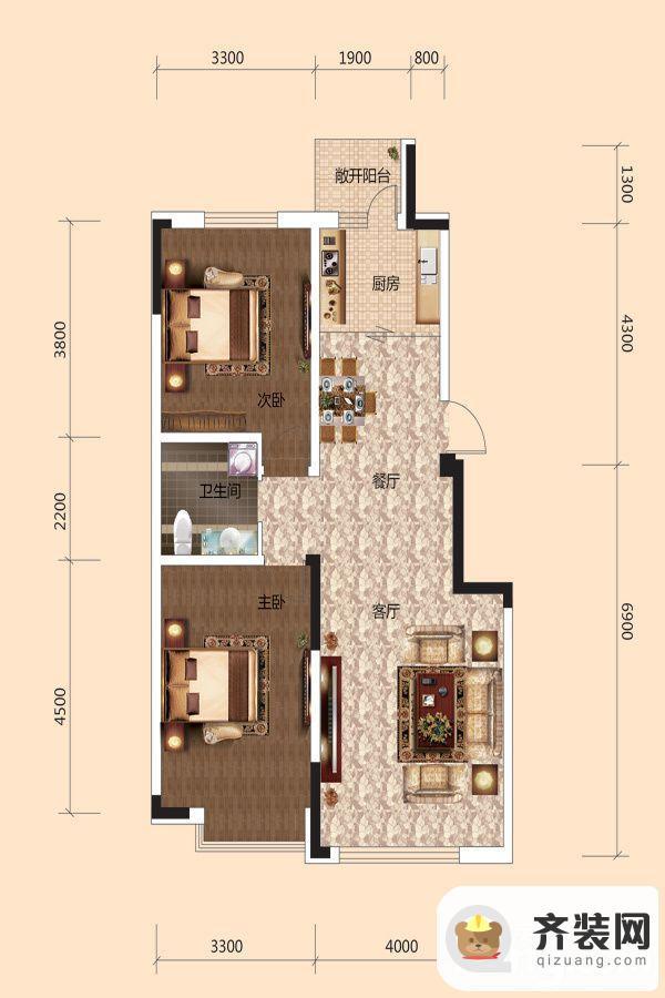 西湖一号二期E户型 2室2厅1卫1厨