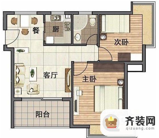 水岸怡园两室一厅1卫2室1厅1卫1厨