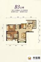 约克郡1号精装高层1栋标准层B3户型 2室2厅1卫1厨