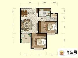 南山六和悦城B2户型 2室2厅1卫1厨