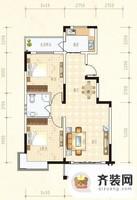 水岸怡园A户型2室2厅1卫 91.37㎡