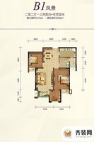 约克郡1号精装高层1栋标准层B1户型 2室2厅1卫1厨