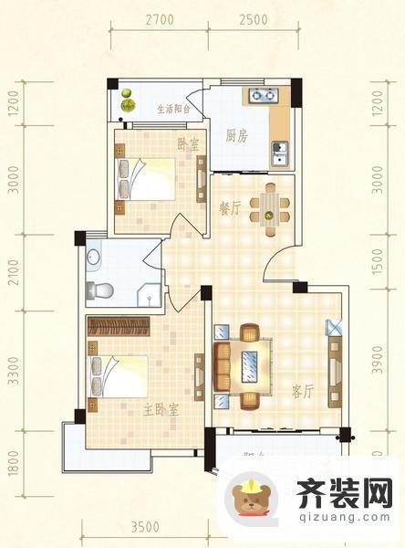 水岸怡园B户型2室2厅1卫 74.37㎡
