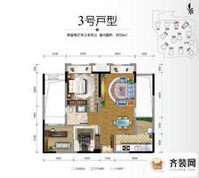 保利香雪户型图3期15、16号楼标准层3号房 2室2厅1卫1厨