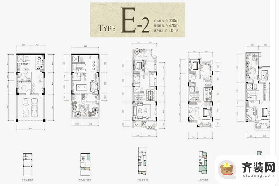 约克郡北郡别墅跃层E2户型 4室3厅6卫1厨