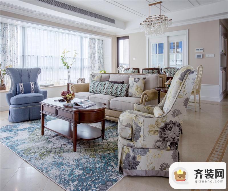 华润中央公园-美式风格-100平米三居室