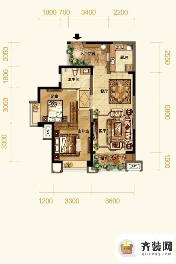 紫御江山熙岸高层1/8号楼标准层套内66平 2室2厅1卫1厨