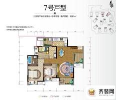 保利香雪户型图3期15、16号楼标准层7号房 3室2厅2卫1厨