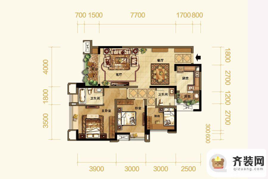 紫御江山熙岸高层1/8号楼标准层套内89平 3室2厅2卫1厨
