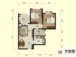 南山六和悦城C2户型 2室2厅1卫1厨