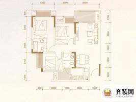 华润中央公园四期尚玺小高层24、26栋标准层A1户型 3室2厅2卫1厨