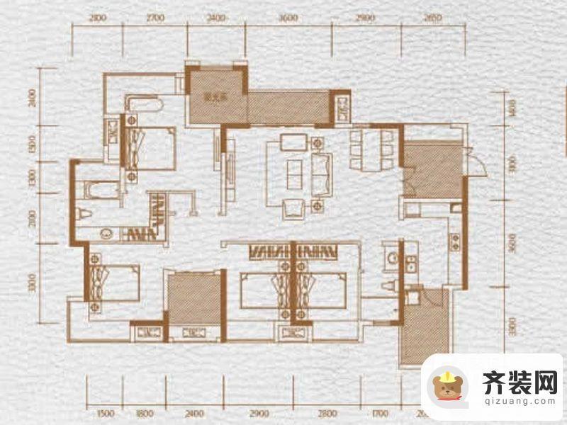 华润中央公园三期9、10号楼标准层1、2、4、5号房 4室2厅2卫1厨