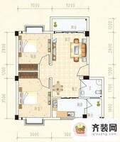 水岸怡园C户型2室2厅1卫 63.12㎡