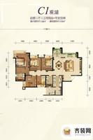 约克郡1号精装高层1栋标准层C1户型 4室2厅2卫1厨