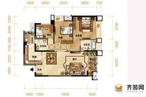 紫御江山熙岸高层7/8号楼标准层套内90平 3室2厅2卫1厨