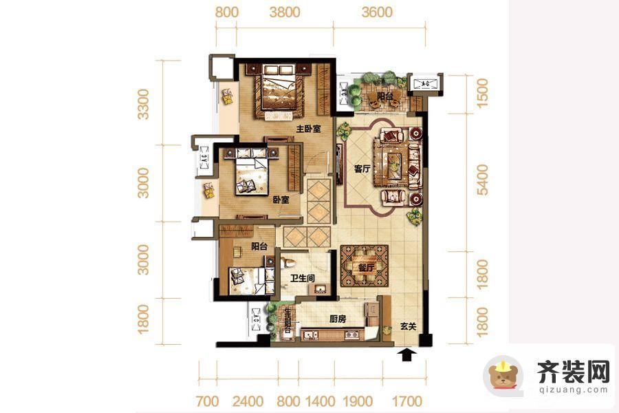 紫御江山熙岸高层7号楼标准层套内74平 3室2厅1卫1厨