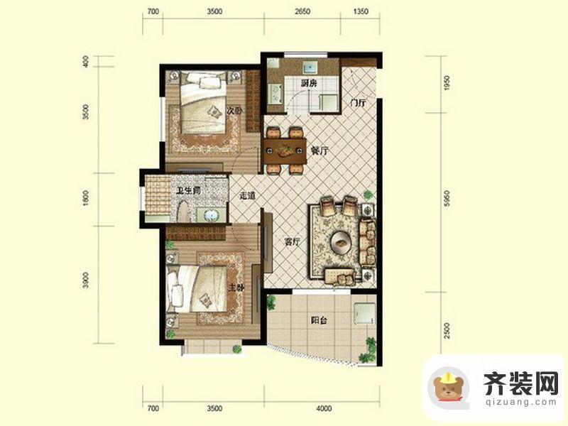 南山六和悦城A2户型 2室2厅1卫1厨