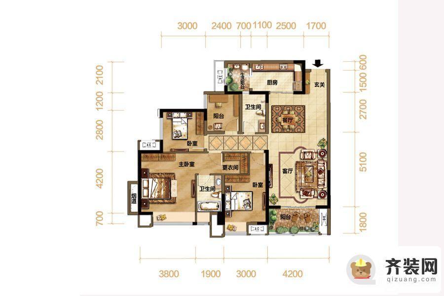 紫御江山熙岸高层7号楼标准层套内108平 4室2厅2卫1厨