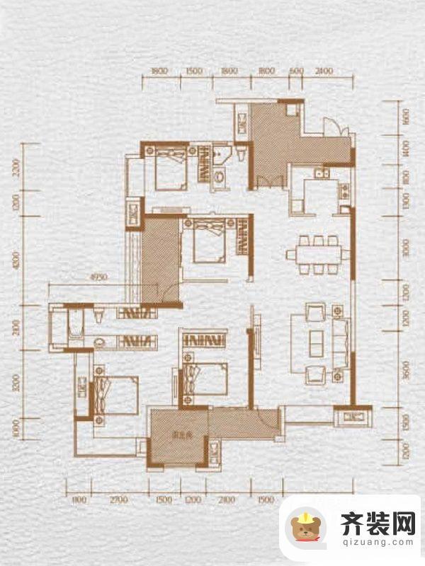 华润中央公园三期9、10号楼标准层1、2号房 4室2厅2卫1厨
