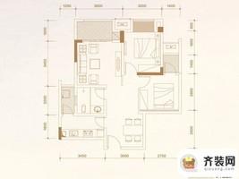 华润中央公园四期尚玺小高层24、26栋标准层A2户型 2室2厅1卫1厨