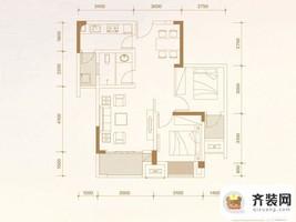 华润中央公园四期尚玺小高层24、26栋标准层A3户型 2室2厅1卫1厨