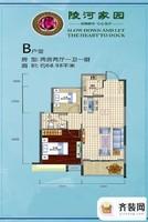 陵河家园B户型 2室2厅1卫1厨