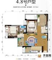 保利香雪户型图3期17、23号楼标准层4、8号房 2室2厅2卫1厨