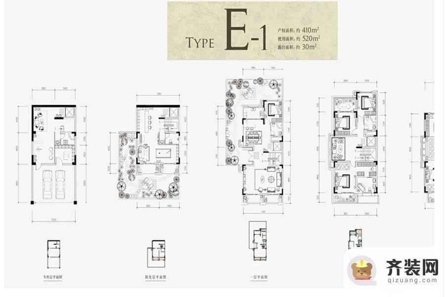 约克郡北郡别墅跃层E1户型 4室4厅6卫1厨