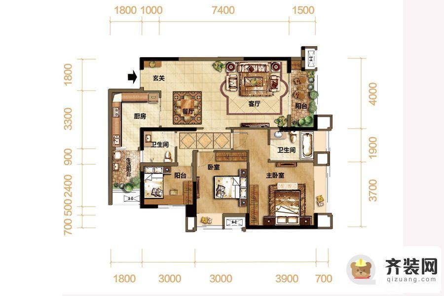 紫御江山熙岸高层1号楼标准层套内90平 3室2厅2卫1厨