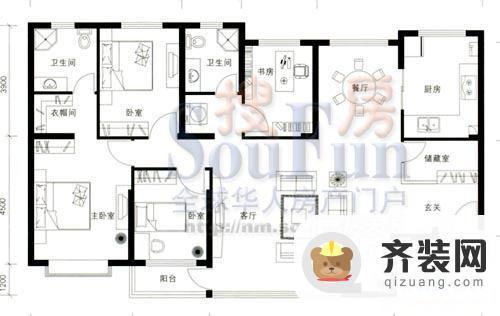 翡翠花溪户型图4室2厅2 4室2厅2卫1厨